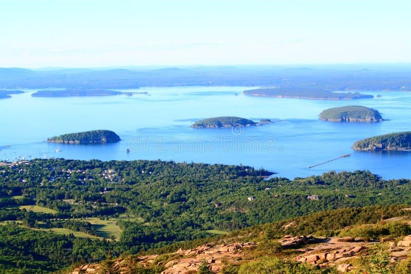 Вид с воздуха национального парка Acadia стоковые фотографии rf