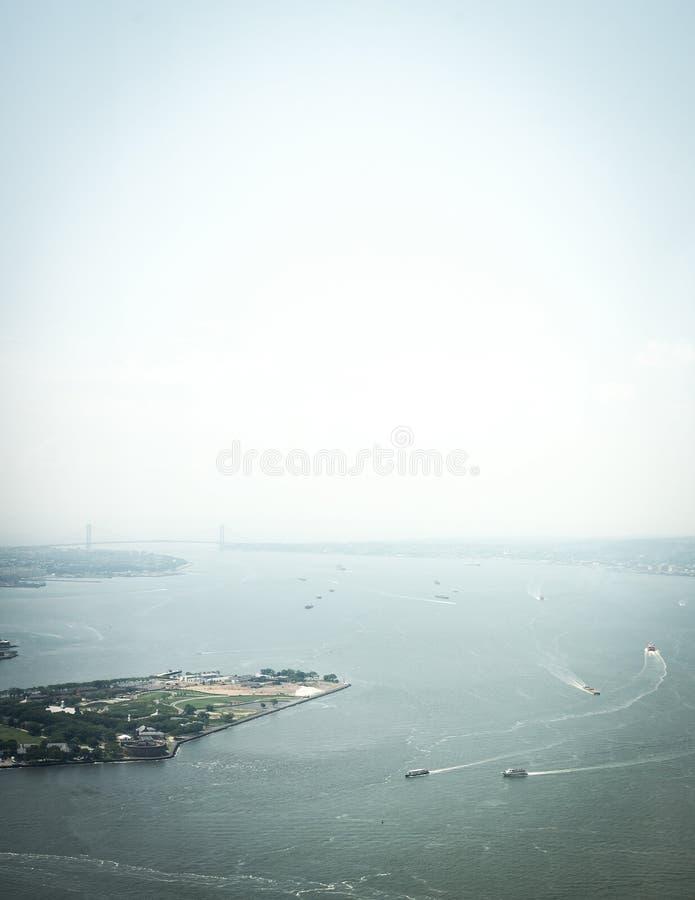 Вид с воздуха на верхнем заливе в Нью-Йорке стоковая фотография
