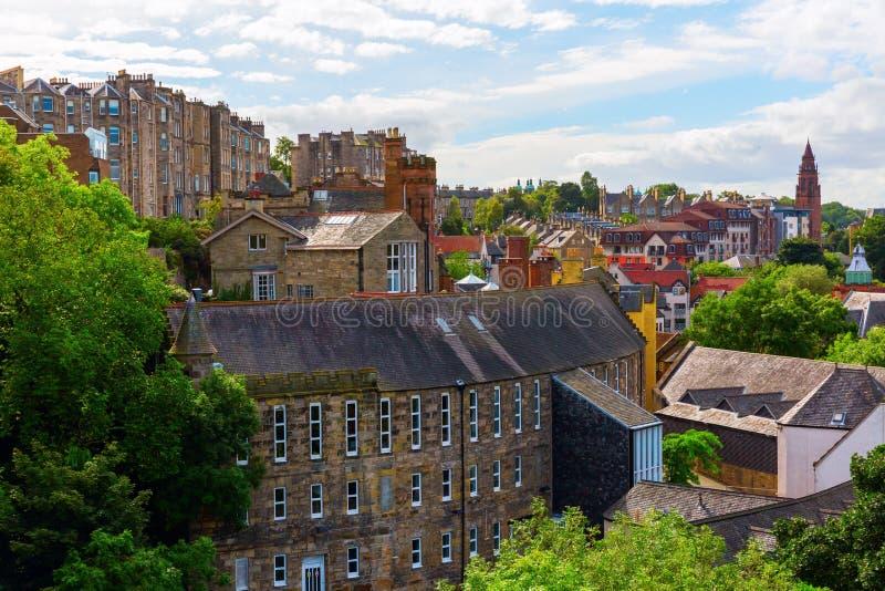 Вид с воздуха над деканом Деревней, Эдинбургом стоковые фото