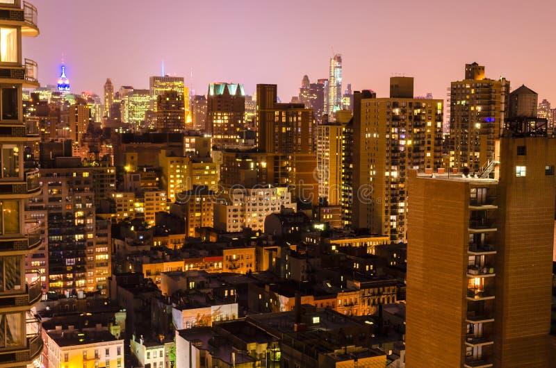 Вид с воздуха на ноче, Нью-Йорке стоковые изображения rf
