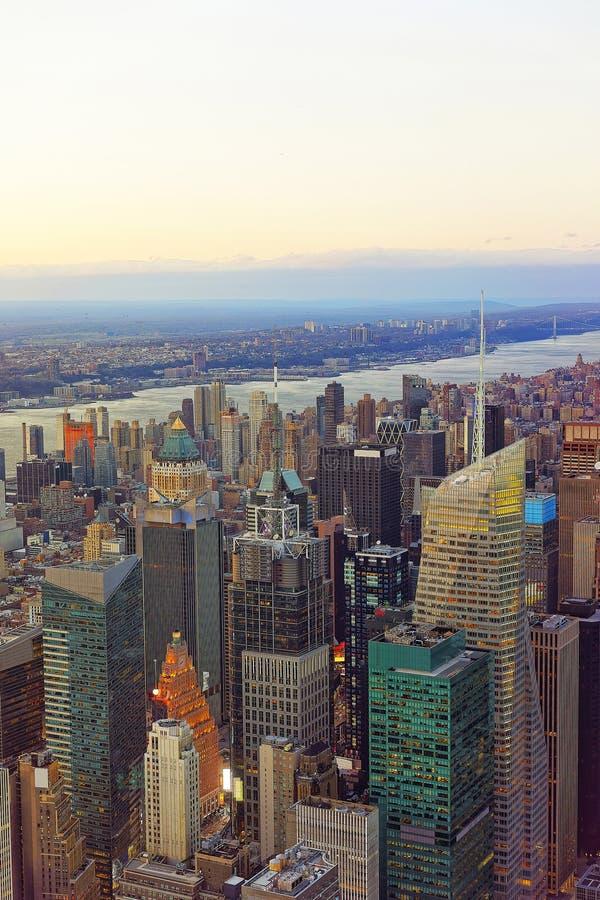 Вид с воздуха на районе центра города Нью-Йорка стоковое фото