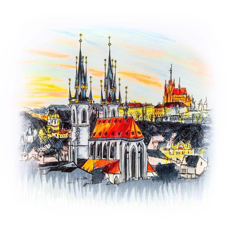 Вид с воздуха над старым городком на заходе солнца, Прагой бесплатная иллюстрация