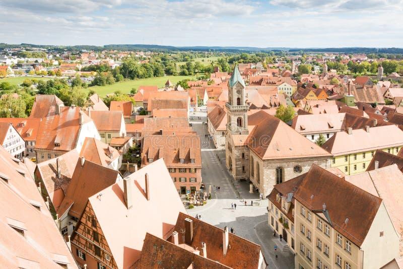 Вид с воздуха над Dinkelsbuehl стоковая фотография