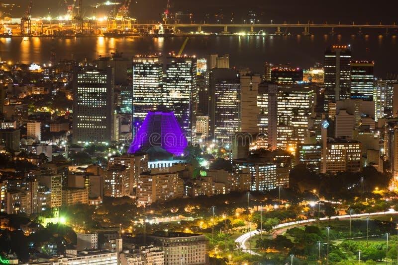 Вид с воздуха ночи Centro, Lapa и Сathedral. Рио-де-Жанейро стоковые изображения