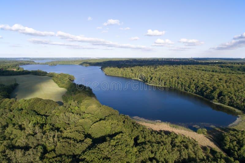 Вид с воздуха озера Farum, Дании стоковые изображения