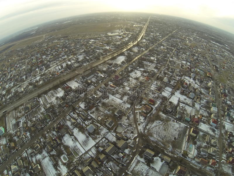 Вид с воздуха дороги около города Zhitomir, Украины стоковое фото rf