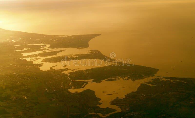 Вид с воздуха острова и Портсмута Hayling стоковая фотография rf