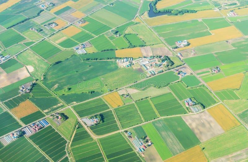 Вид с воздуха от самолета поля земледелия в лете на Хоккаидо Японии стоковые изображения