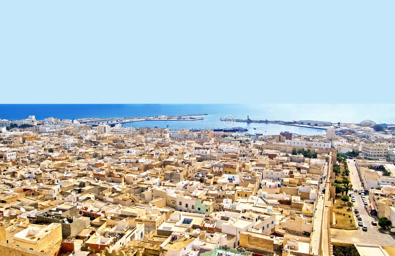 Вид с воздуха от mediaval крепости, Sousse, Туниса стоковая фотография rf