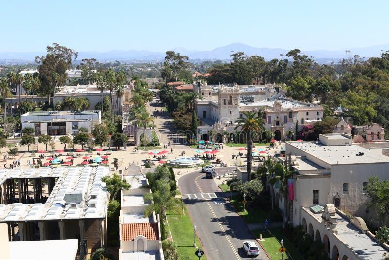 Вид с воздуха парка бальбоа в Сан-Диего, Калифорнии стоковое фото rf