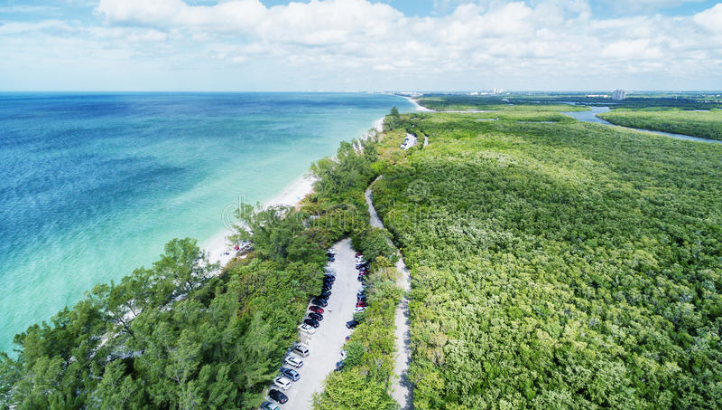 Вид с воздуха парка штата Delnor-Wiggins, Флориды стоковое изображение