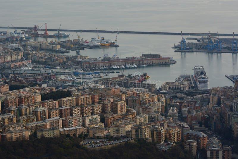 Вид с воздуха порта Genova Лигурия Италия стоковая фотография