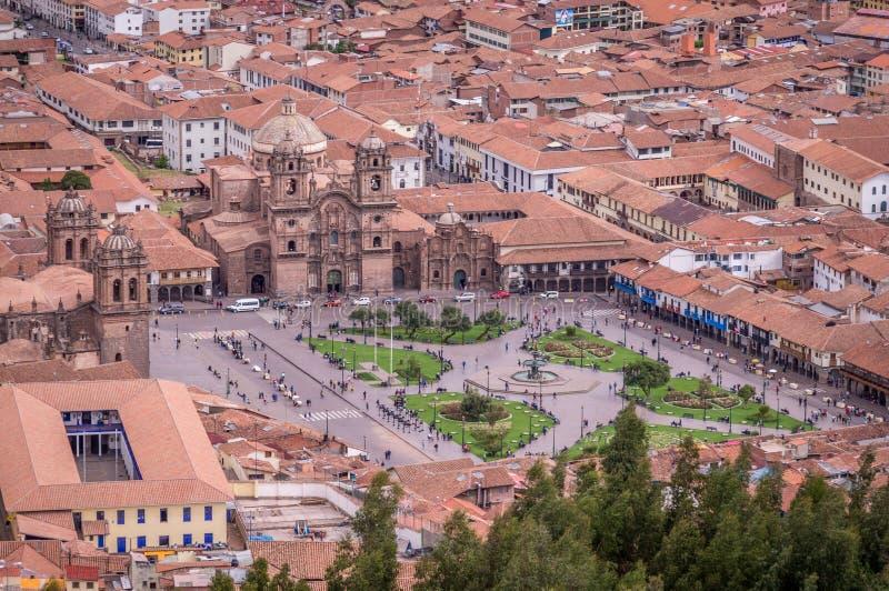 Вид с воздуха Площади de Armas в Cusco, Перу стоковые изображения