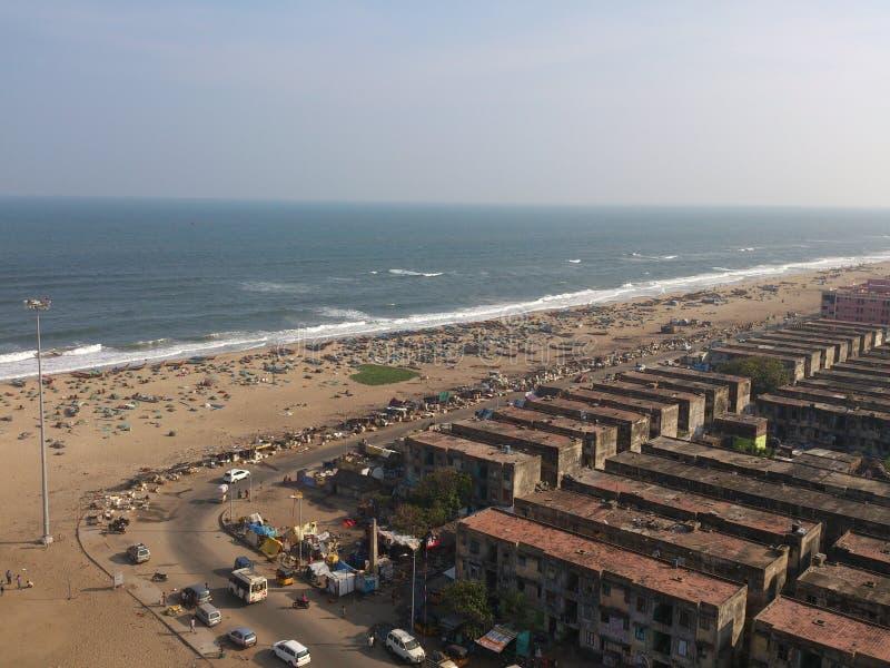 Вид с воздуха пляжа chennai стоковые фото