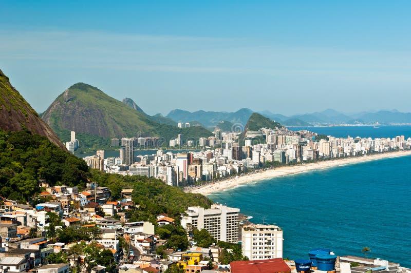 Вид с воздуха пляжа Ipanema стоковые изображения rf