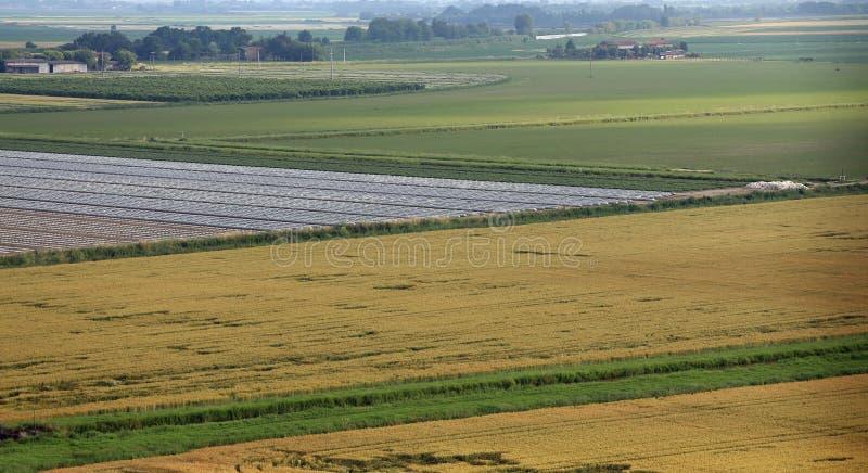 вид с воздуха равнины с полями в долине po в Италии стоковая фотография rf