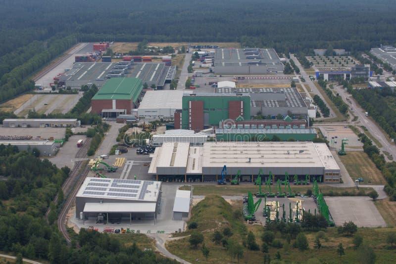 Вид с воздуха района промышленного парка стоковая фотография rf