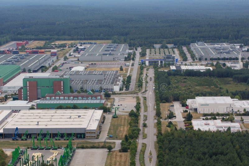 Вид с воздуха района промышленного парка стоковые фотографии rf