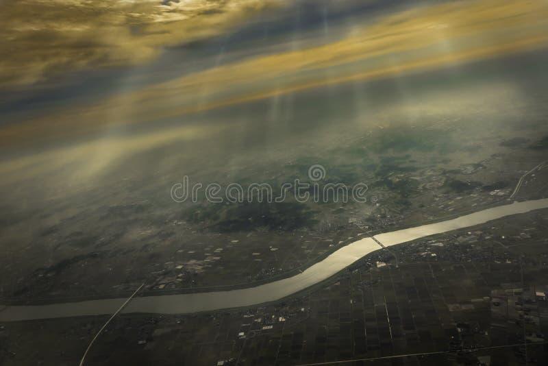 Вид с воздуха реки тона стоковая фотография