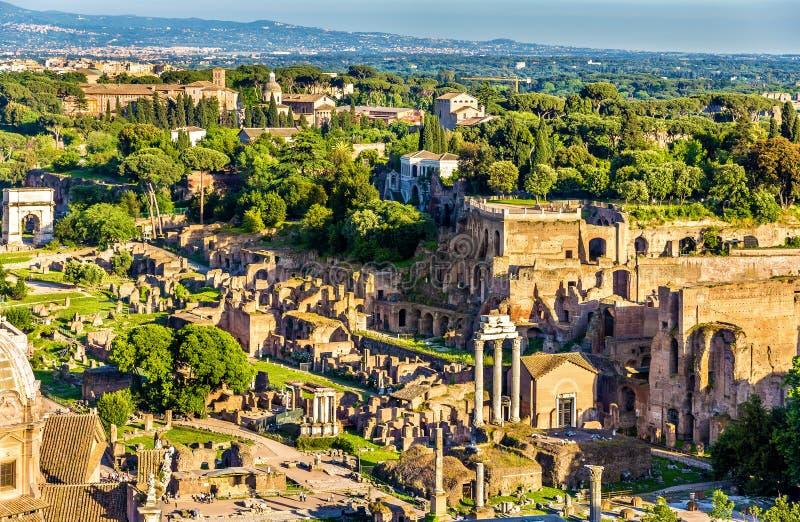 Вид с воздуха римского форума стоковая фотография rf
