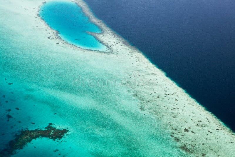 Вид с воздуха рифа Красивые яркие глубокие цвета, синь моря стоковые изображения