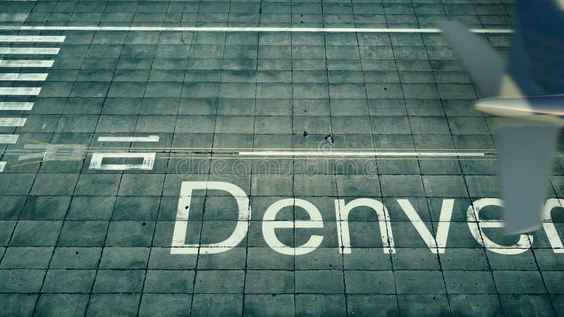 Вид с воздуха самолета приезжая к авиапорту Денвера Перемещение к переводу Соединенных Штатов 3D иллюстрация штока