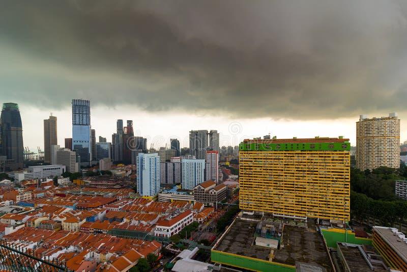 Вид с воздуха Сингапура Чайна-тауна стоковое изображение