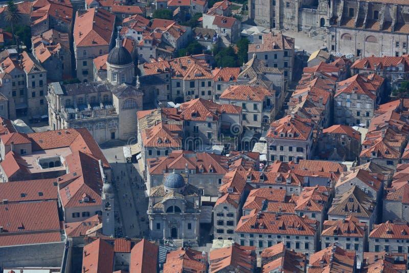Вид с воздуха старого городка dubrovnik Хорватия стоковая фотография rf