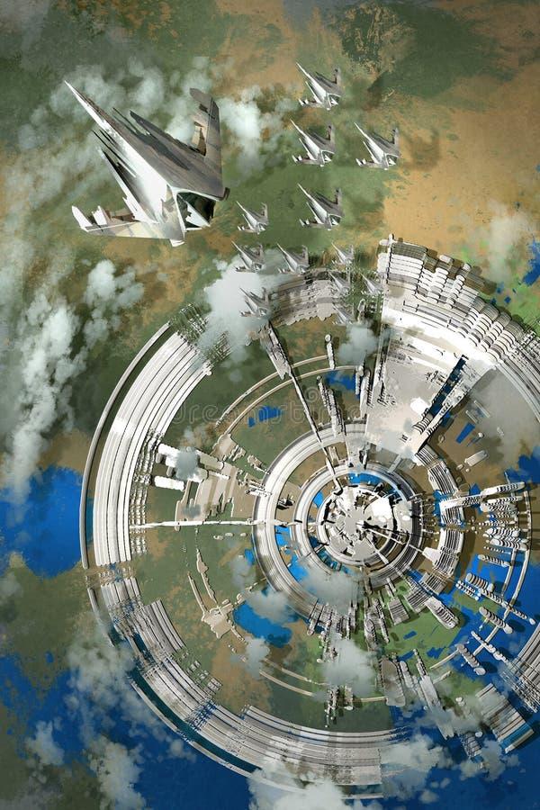 вид с воздуха футуристического города иллюстрация штока