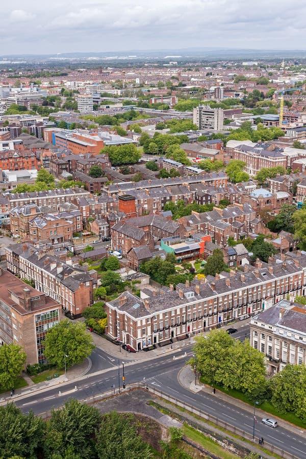 Вид с воздуха центра города Ливерпуля стоковые изображения