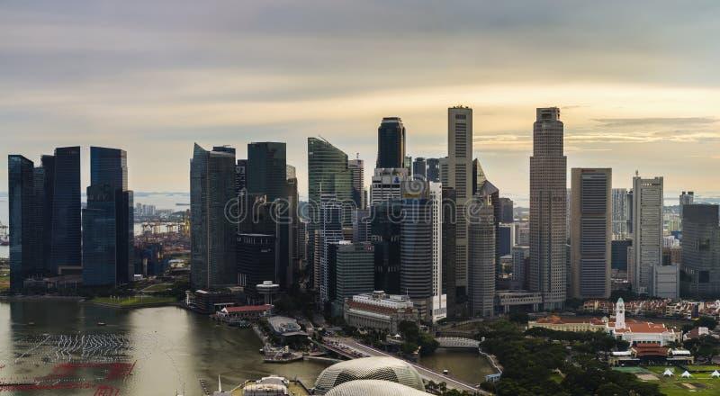 Вид с воздуха центрального финансового района, Сингапура стоковые фото