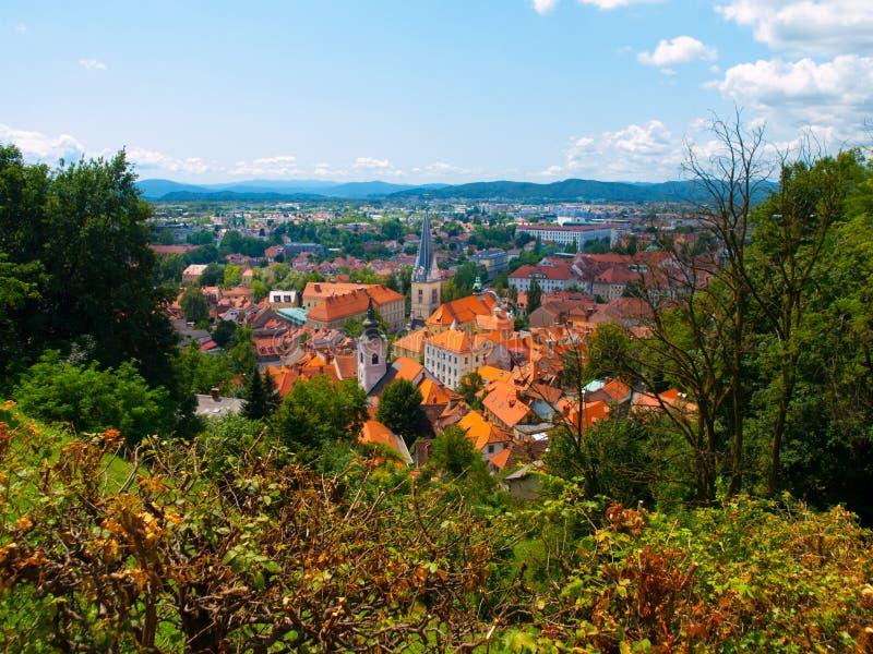 Вид с воздуха церков St James в Любляне стоковая фотография