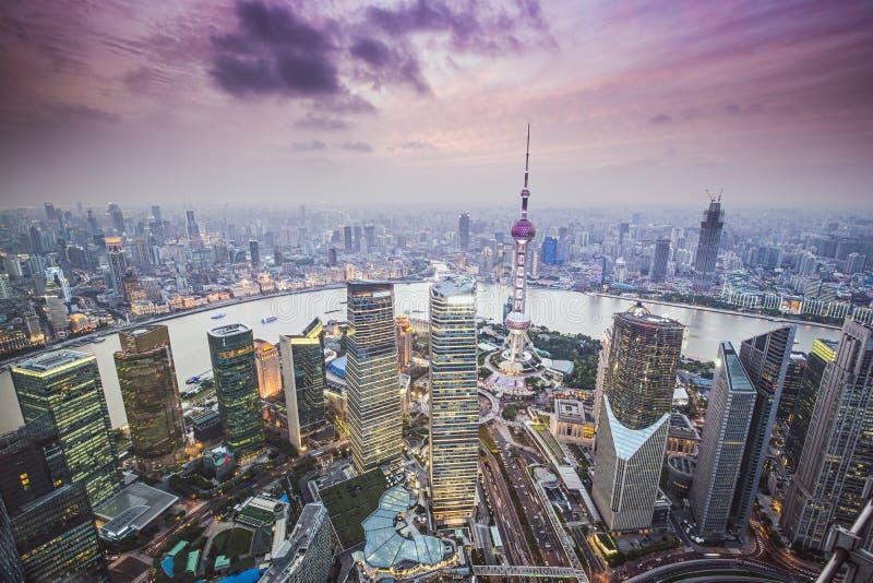 Вид с воздуха Шанхая стоковые изображения rf