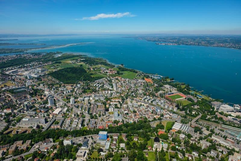 Вид с воздуха Bregenz на constance озера стоковые изображения