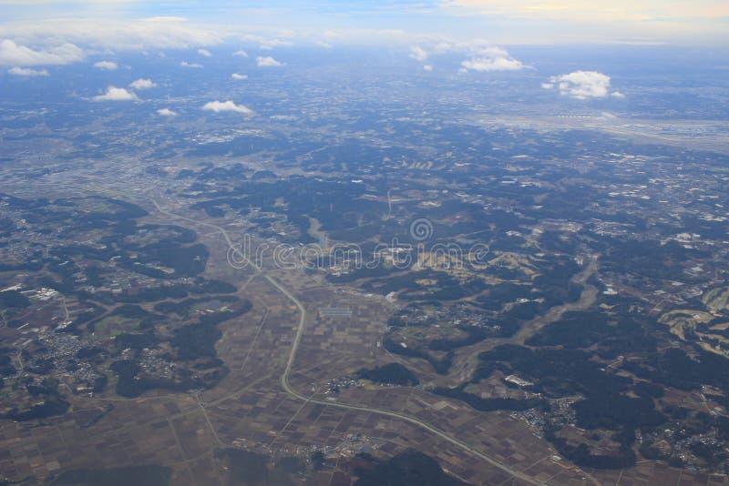 Вид с воздуха Chiba, Японии с самолетом стоковое фото rf