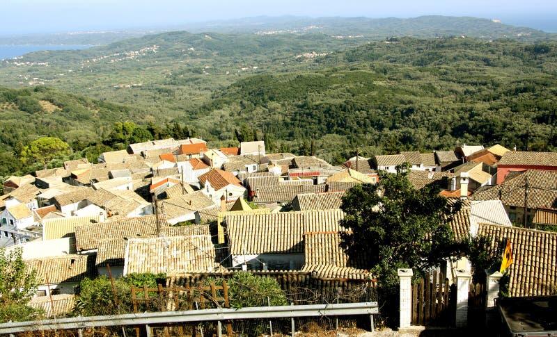 Вид с воздуха Chlomos, Корфу, Греции стоковое изображение