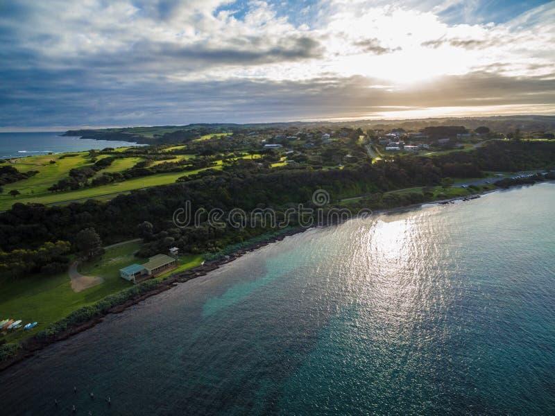Вид с воздуха foreshore на заходе солнца, Мельбурна щепок, Australi стоковые изображения rf