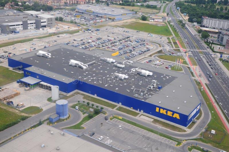 Вид с воздуха superstore Ikea в Кракове стоковые изображения