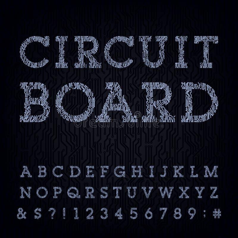 Вид шрифта монтажной платы элементы алфавита scrapbooking вектор бесплатная иллюстрация