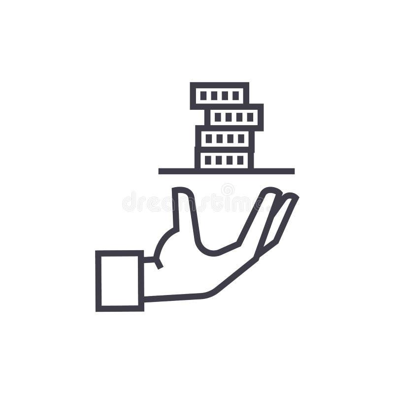 Вкладчик, рука обслуживания с линией значком вектора денег, знаком, иллюстрацией на предпосылке, editable ходах иллюстрация штока