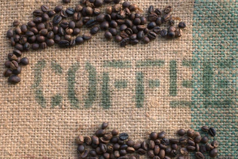 вкладыш кофе ii мешковины фасолей стоковое фото