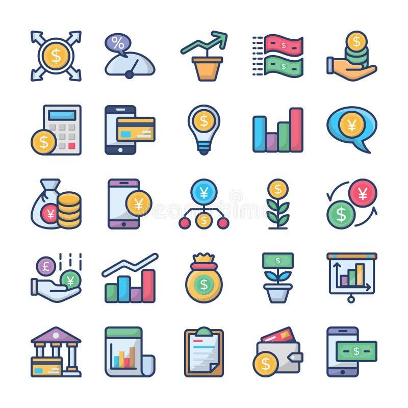 Вклады и набор значков финансов бесплатная иллюстрация