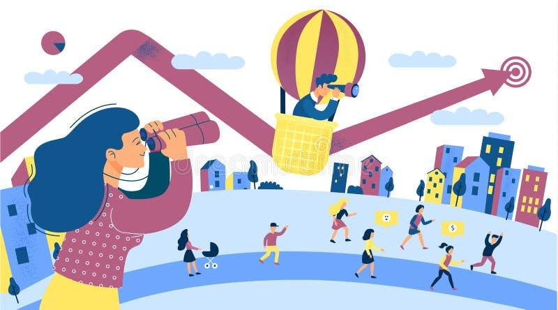 Вклад роста финансов для дохода от бизнеса Группа людей сцены города торопит поднимает деньги инвестируя концепцию смотреть иллюстрация вектора
