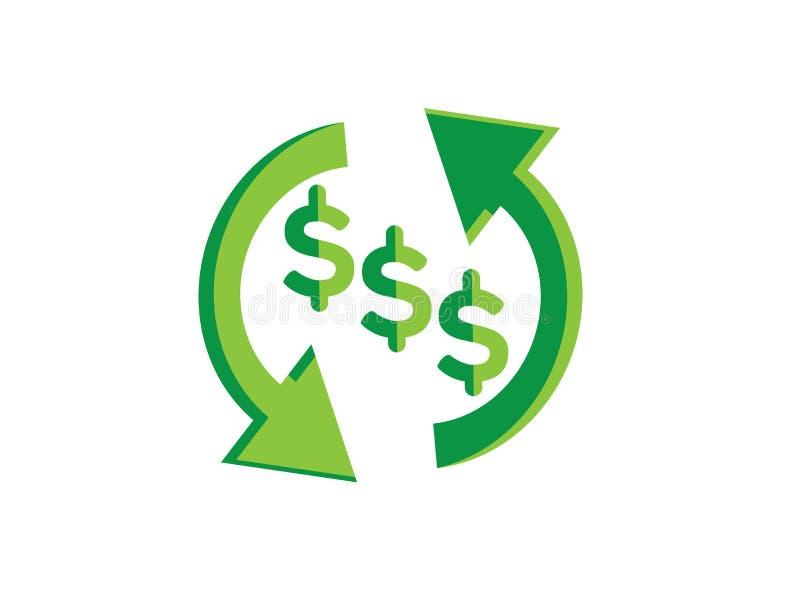 Вклад символа изменения денег для иллюстратора дизайна логотипа, знач бесплатная иллюстрация