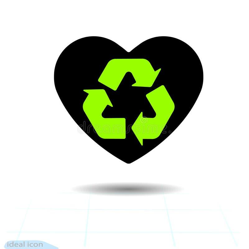 включенная икона сердца архива 8 eps Символ влюбленности День валентинки с знаком зеленых стрелок рециркулирует Плоский стиль для бесплатная иллюстрация