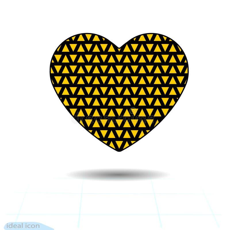 включенная икона сердца архива 8 eps Символ влюбленности День валентинок с текстурой маленьких оранжевых треугольников Плоский ст иллюстрация штока