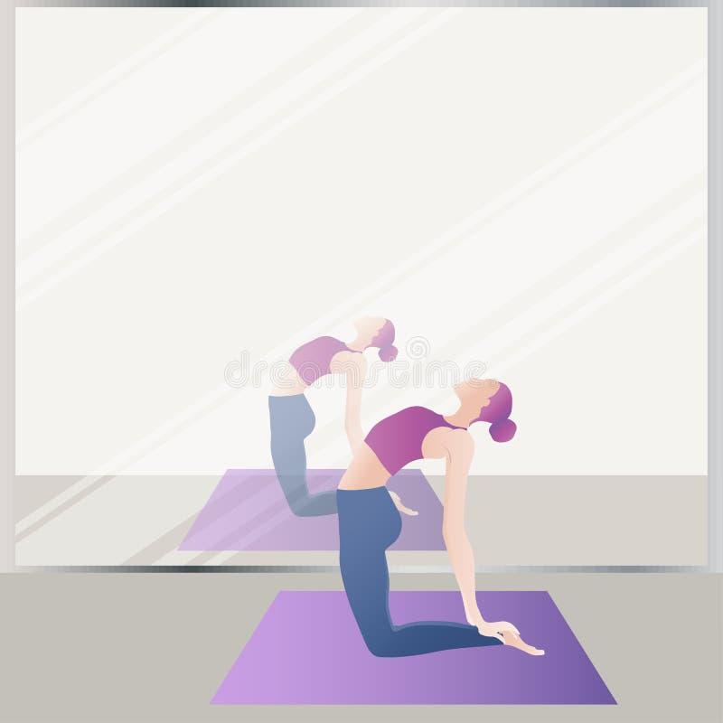 включенная йога девушки Гибкая тонкая диаграмма иллюстрация штока