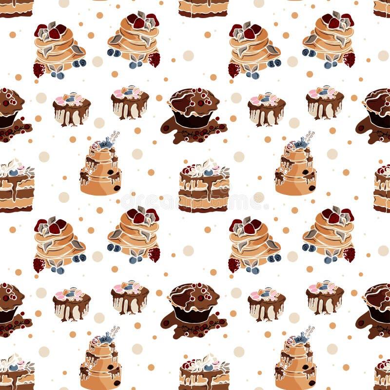 Вкусная безшовная картина с тортами в векторе иллюстрация штока