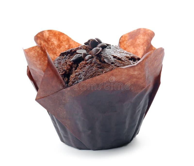 Вкусная булочка шоколада на белой предпосылке стоковые фотографии rf