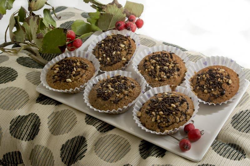 Вкусная булочка с тортами шоколада и миндалины стоковые изображения